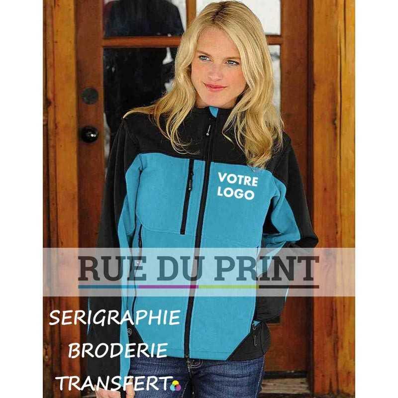 Veste publicité femme Hybrid275-280 g/m² Ext: 100% polyester (microfleece), couleurs contrastées: 97% polyester, 3% élasthanne