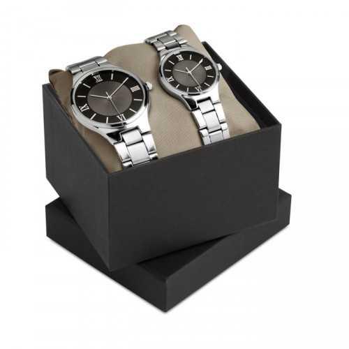 Set montres homme et femme TWO FOR TIME boite cadeau noire