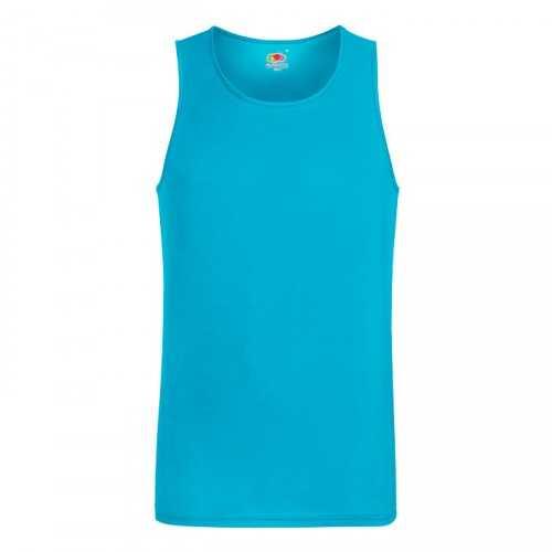 PERFORMANCE personnalisable bleu d'azur face VEST 61-416-0 140 g/m2. 100% Polyester. Évacuation de l'humidité et séchage rapide.