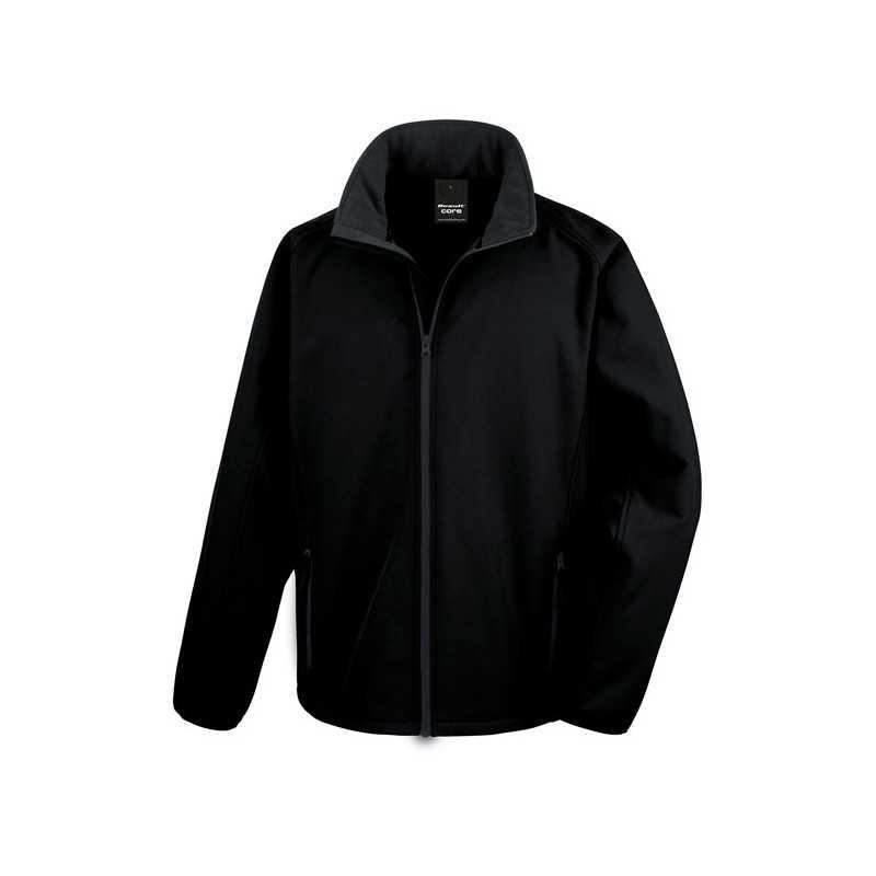 SOFT personnalisable noir face SHELL JACKET R231M 280 g/m2. 100% polyester (2 couches). Ext: sans élasthanne, tissu extensible.