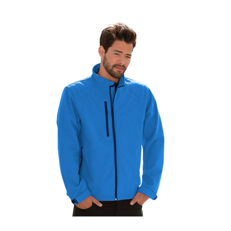 SOFT personnalisable bleu d'azur profil SHELL JACKET R-140M-0 340 g/m2. 92% polyester, 8% élasthanne. Doublure: 100% polyester m