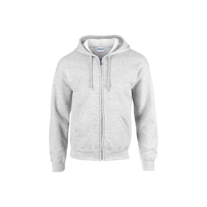 FULL personnalisable gris cendré face ZIP HOODED SWEAT 270 g/m2 (Blanc: 255 g/m2). 50% coton, 50% polyester. Coton cardé.