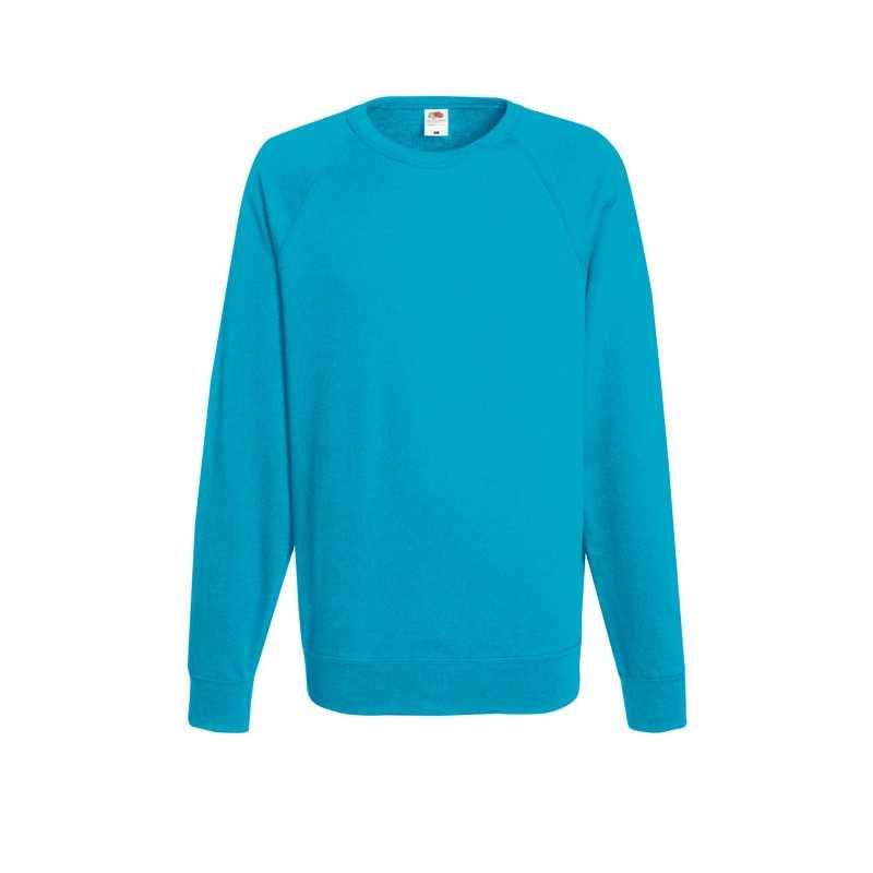 LIGHTWEIGHT personnalisable bleu d'azur face RAGLAN 62-138-0 240 g/m2. 80% coton (fil Belcoro®), 20% polyester. Polaire non bros