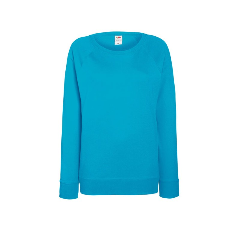 LADY-FIT personnalisable bleu d'azur face LIGHT RAGLAN 62-146-0 240 g/m2. 80% coton (fil Belcoro®), 20% polyester. Polaire non