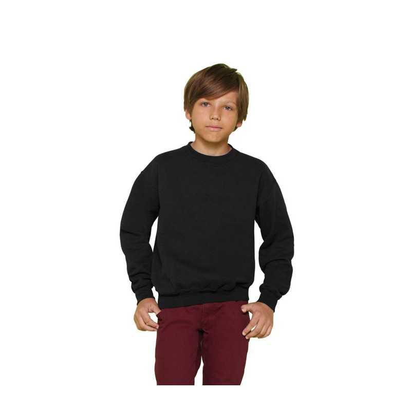 YOUTH personnalisé noir face CREW NECK 18000B 270 g/m2 (White: 255 g/m2). 50% coton, 50% polyester. Maille open-end.