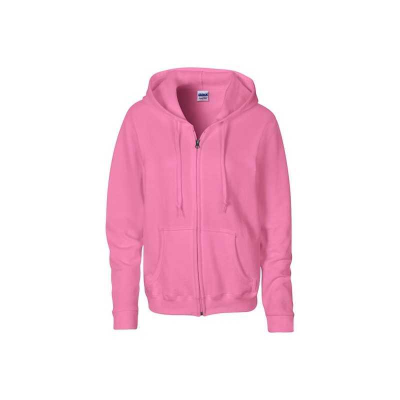 LADIES personnalisable azalée face SWEATER HOOD ZIP 18600L 255-270 g/m2. 50% Coton, 50% Polyester prérétréci.