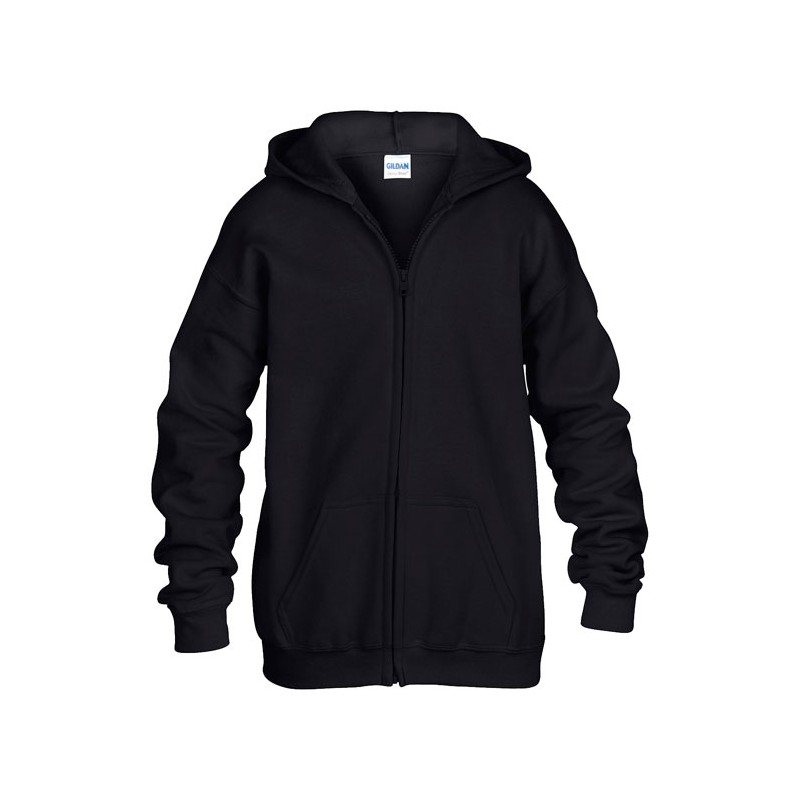 KIDS personnalisable noir face FULL ZIP HOODED SWEAT 270 g/m2 (Blanc: 255 g/m2). 50% coton, 50% polyester. Capuche basique.