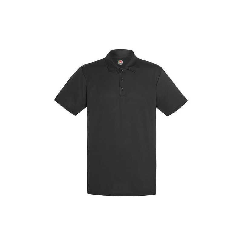 PERFORMANCE personnalisable noir face POLO 63-038-0 140 g/m2. 100% Polyester. Évacuation de l'humidité et séchage rapide.