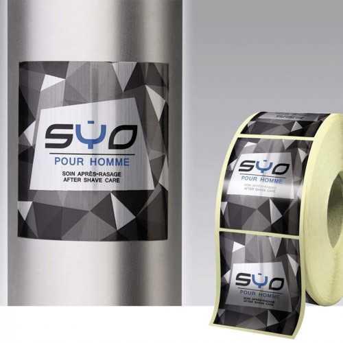 Étiquettes rouleaux personnalisées métal brossé