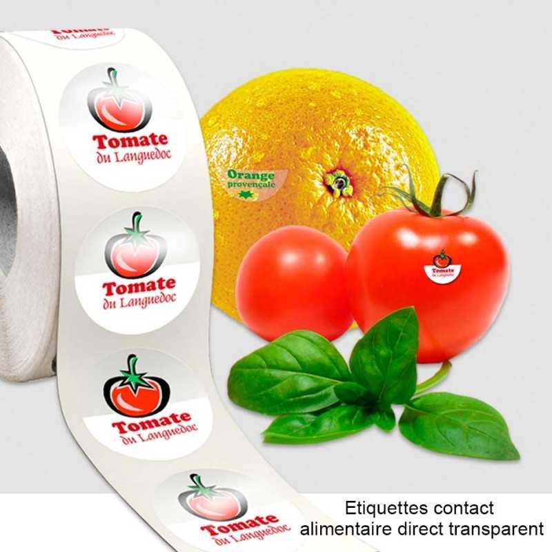 Étiquettes publicitaires contact alimentaire direct rouleaux