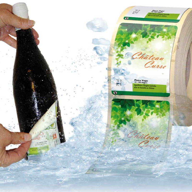 Étiquettes personnalisées rouleaux pour bouteille enlevables dans l'eau