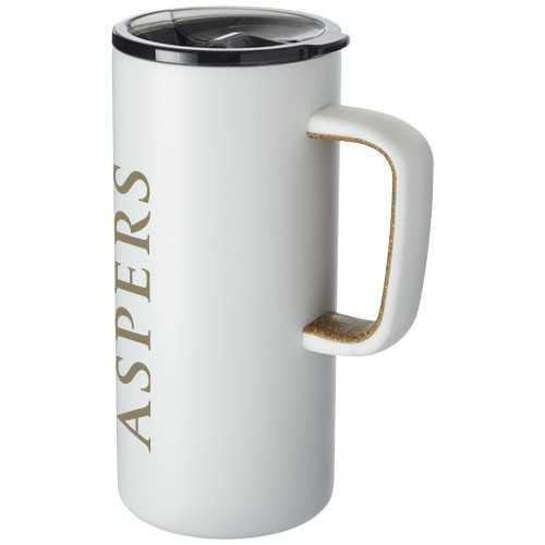 Mug publicité Valhalla Mug très tendance avec double paroi en acier, durable, et poignée en liège. Il conserve les boissons ch