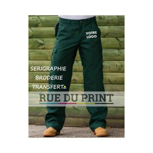 "Hard Wearing Work Trouser Length 34"" publicité 65% polyester/35% coton canvas, 260 g/m2 revêtement DuPontTM Teflon®"