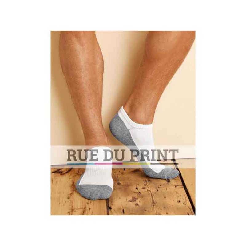 Chaussettes publicité homme 66% coton, 32% polyester, 1% nylon, 1 % élasthanne évacue l humidité semelle rembourrée