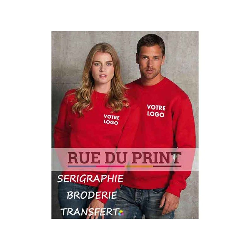 Sweat publicité shirt manches set-in Authentic 280 g/m² 80% coton peigné ringspun, 20% polyester tissu 3 couches bande de pro