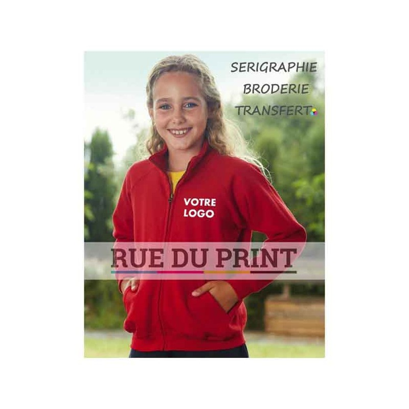 Gilet publicité Sweat enfant 280 g/m2 80% coton fil Belcoro®, 20% polyester col droit avec bande de propreté en jersey simple