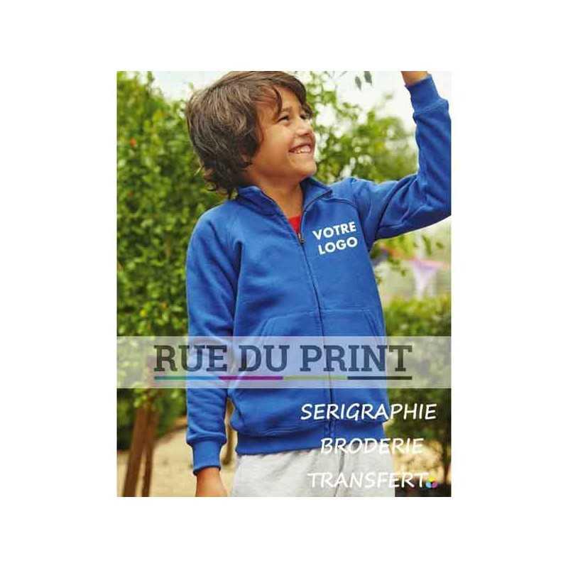 Gilet publicité Sweat enfant manches raglan 280 g/m2 70% coton ringspun, 30% polyester modèle blouson avec fermeture à glissiè