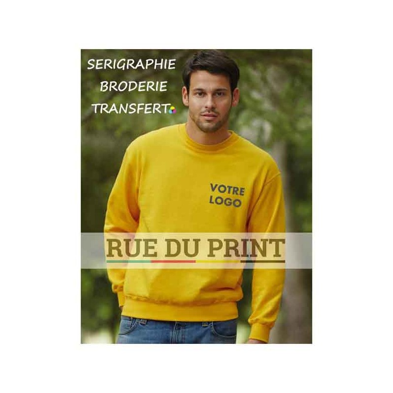 Sweat publicité shirt manches set-in 280 g/m² 80% coton, 20% polyester bord côte au col sans couture