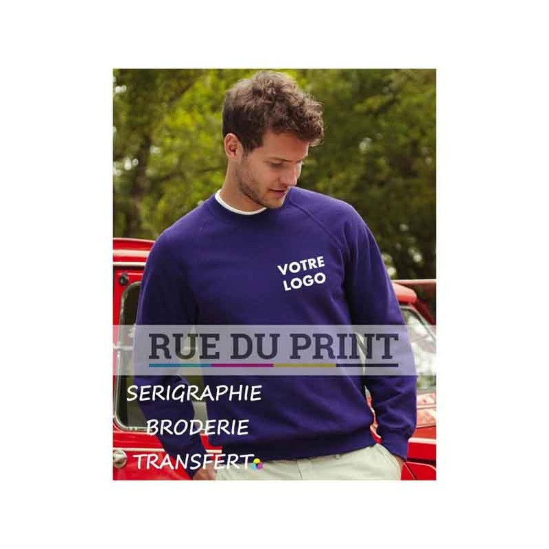Sweat shirt Raglan 280 g/m² 80% coton, 20% polyester bord côte au col, aux manches et à la base