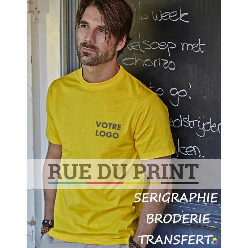 Tee-shirt publicité jaune profil Basic 100% coton peigné ringspun, 150 g/m² prérétréci col 2 couches en lycra