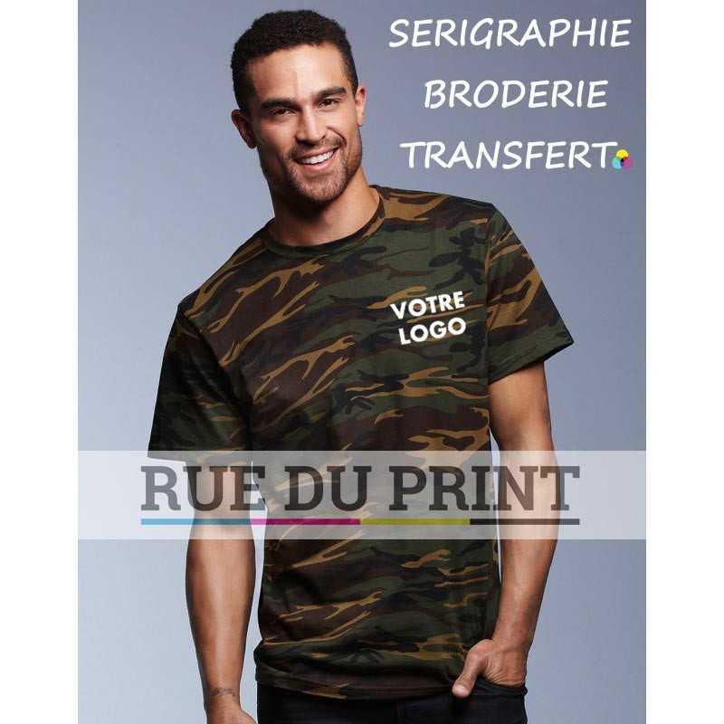 Tee-shirt publicité Camouflage vert profil Heavyweight 170 g/m² 100% coton, heavyweight, prérétréci bande de propreté aux épa
