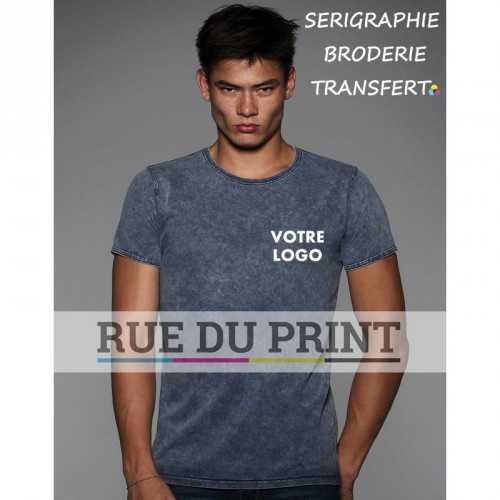 Tee-shirt publicité bleu profil Denim Effect 100%coton prérétréci ringspun, 185 g/m² jersey simple col rond avec bord côte 1x1