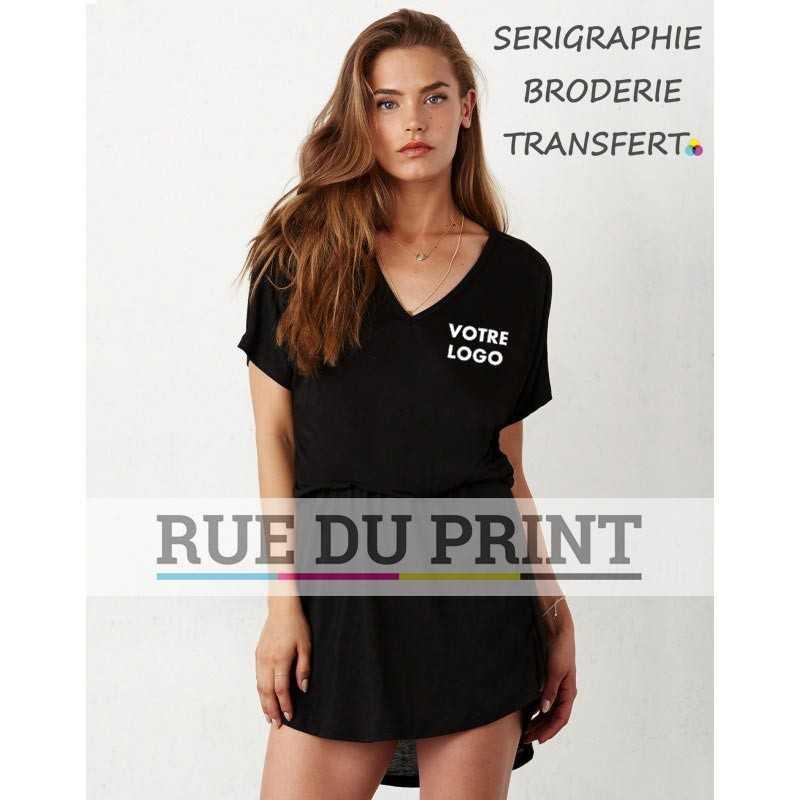 Robe publicité noir profil taille froncée 65% polyester, 35% coton, 125 g/m² col en V taille froncée