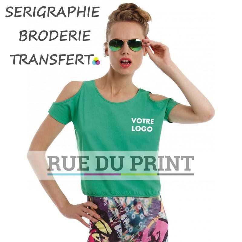 Tee-shirt publicité vert profil ouvertures extérieur 100% coton prérétréci et ringspun, 110 g/m² jersey simple, sensation très