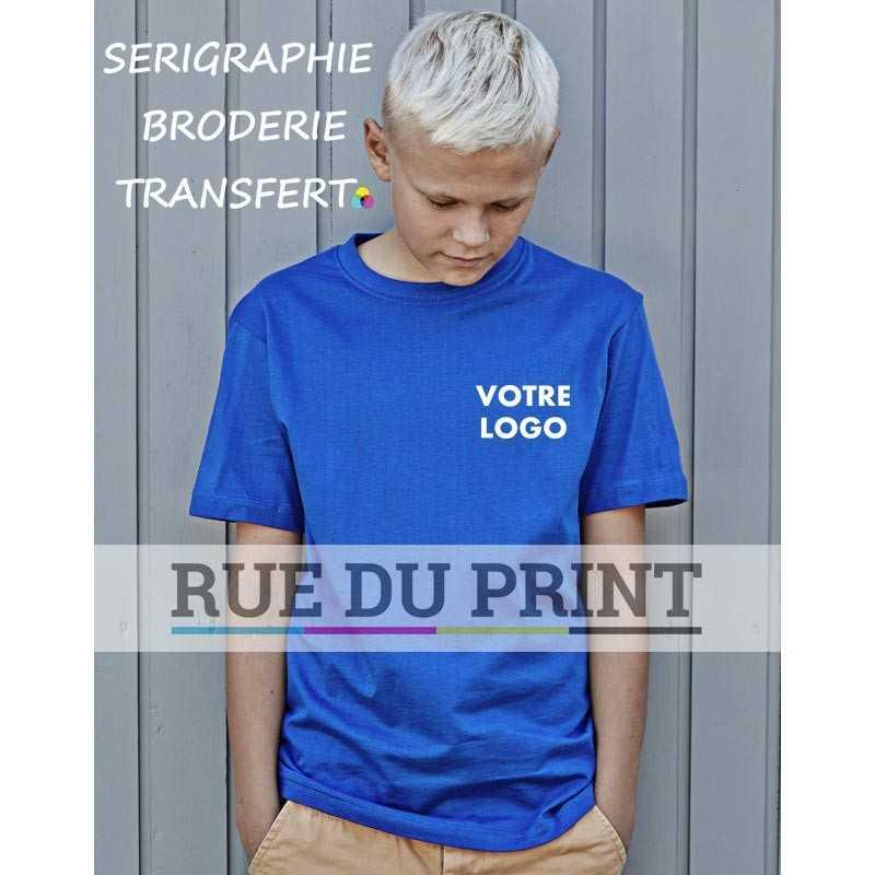 Tee-shirt publicité bleu profil Basic enfant 100% coton peigné ringspun, 150 g/m² prérétréci col 2 couches en lycra