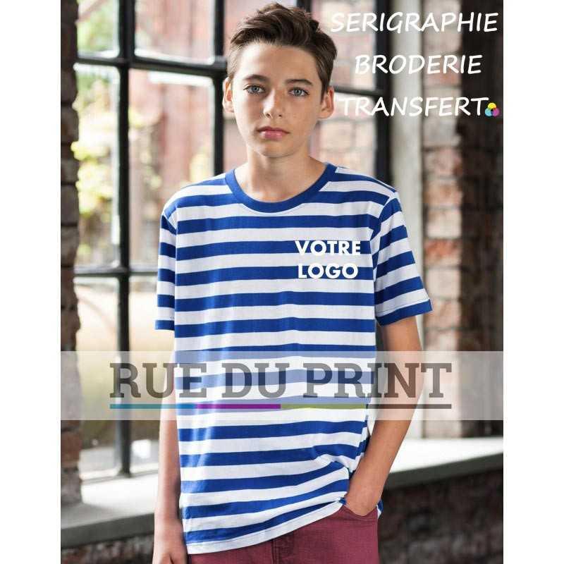 Tee-shirt publicité bleu/blanc profil enfant à rayures 100% coton peigné ringspun, 150 g/m² rayures 2x 2 cm avec fil teinté
