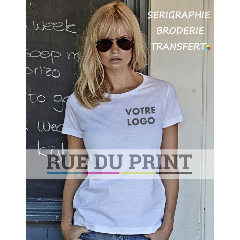 22d293ba4d1 Tee-shirt publicité blanc profil femme Basic 100% coton peigné ringspun