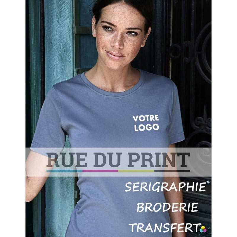 Tee-shirt publicité gris profil femme Interlock 100% coton peigné ringspun, 220 g/m² coton à longue fibre fibre compacte