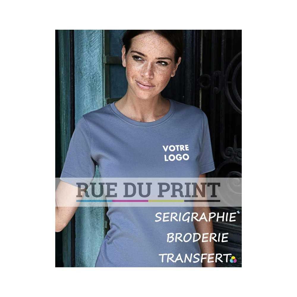 1e04668e6a2 ... Tee-shirt publicité gris profil femme Interlock 100% coton peigné  ringspun