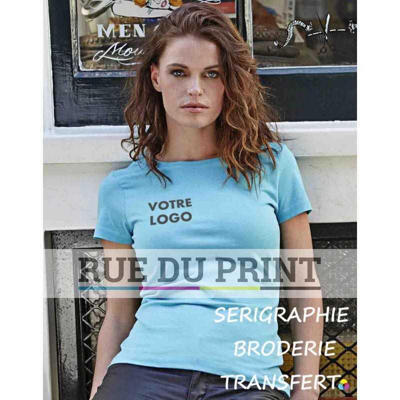 Tee-shirt publicité bleu ciel femme Luxe 100% coton peigné ringspun (jersey simple), 160 g/m² coton longues fibres