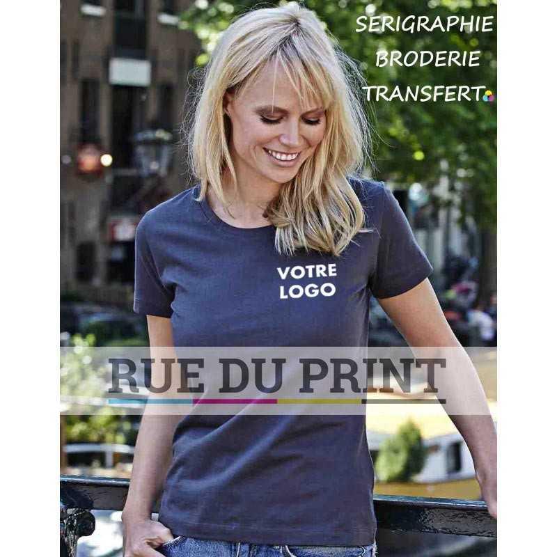 2c95e885050 Tee-shirt publicité indigo profil femme Sof 100% coton peigné ringspun