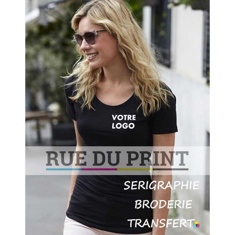 Tee-shirt personnalisé noir profil femme Stretch 90% coton peigné ringspun, 10% élasthanne, 195 g/m² élasthanne de qualité pour
