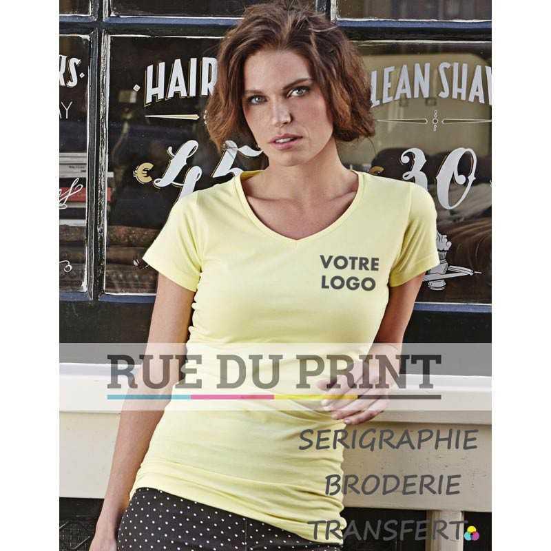 Tee-shirt publicité jaune clair profil femme Stretch Extra Long 90% coton peigné ringspun, 10% élasthanne, 175 g/m² tissu très