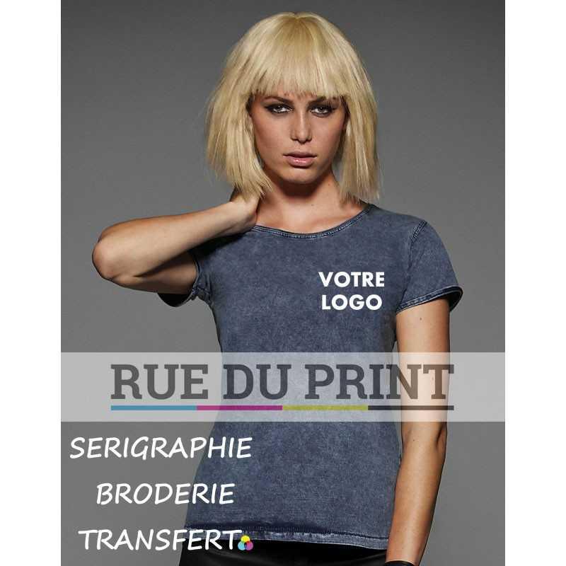 Tee-shirt publicité bleu profil femme Denim Effect 100%coton prérétréci ringspun, 185 g/m² jersey simple col rond avec bord cô