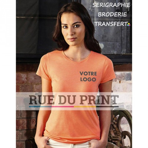 Tee-shirt publicité orange profil femme long 160 g/m² (White: 155 g/m²) 65% polyester, 35% coton, ringspun peigné bord côte au