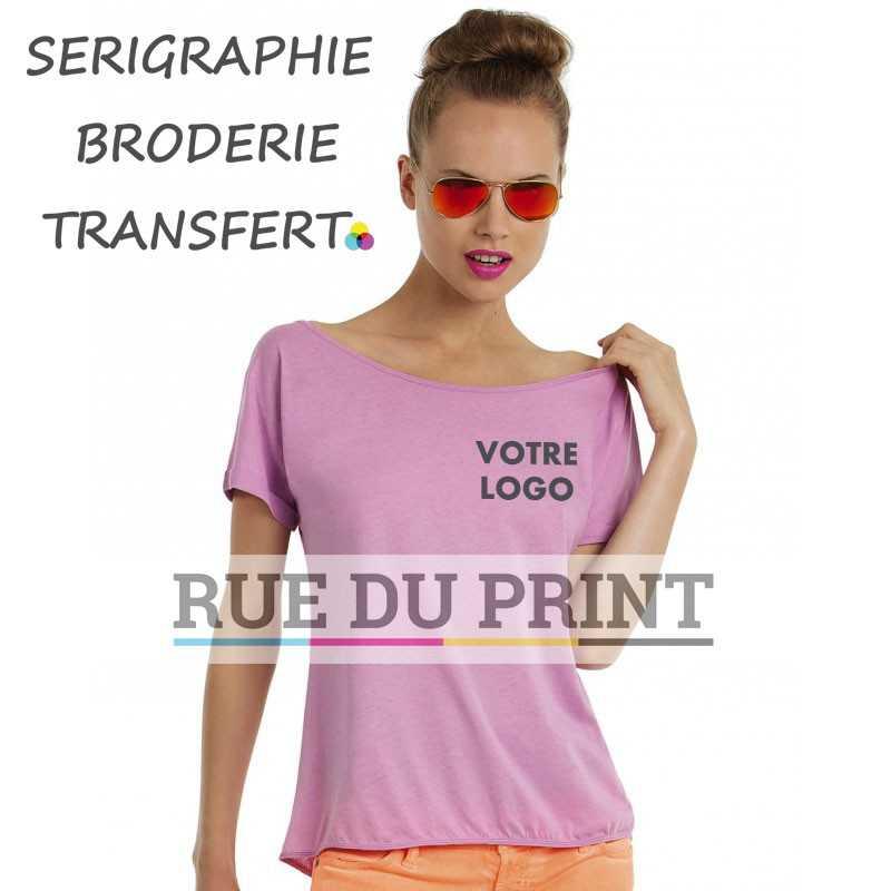 Tee-shirt publicité mauve profil femme Light 100% coton prérétréci et ringspun, 110 g/m² jersey simple, sensation très douce au