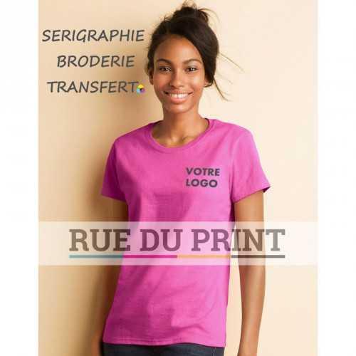 Tee-shirt publicité azalée face femme Coton 185 g/m² (white: 175 g/m²) 100% coton, jersey, prérétréci sport grey: 90% coton, 1