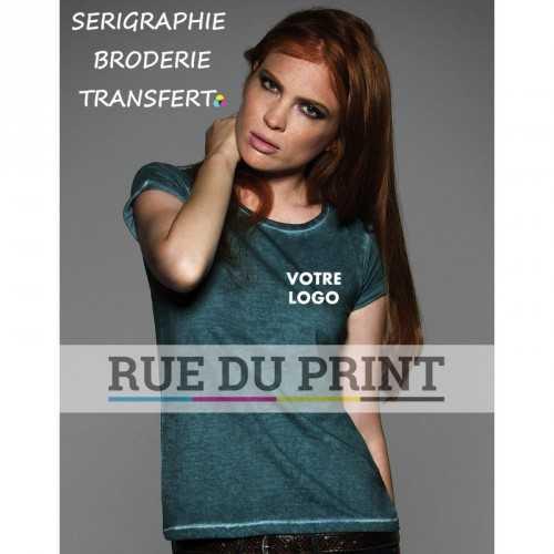 Tee-shirt publicité vert profil femme Look Ultime 100% coton prérétréci et ringspun, 145 g/m² jersey simple col féminin mince