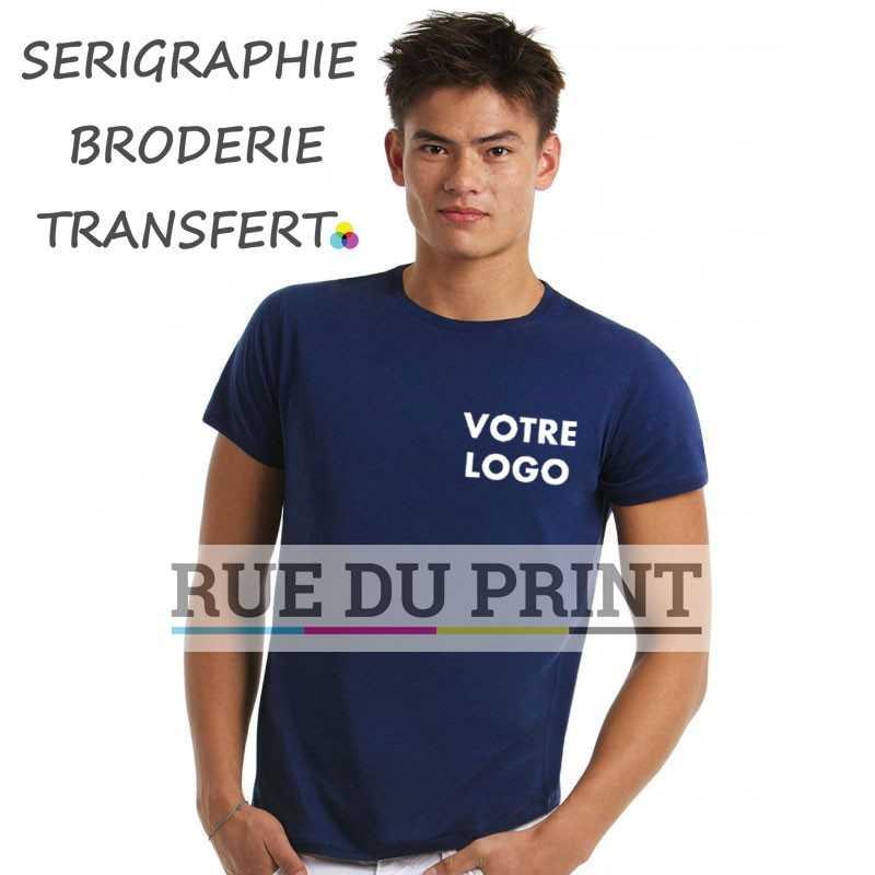 Tee-shirt personnalisable bleu profil Light 100% coton prérétréci et ringspun, 110 g/m² jersey simple, sensation très douce au