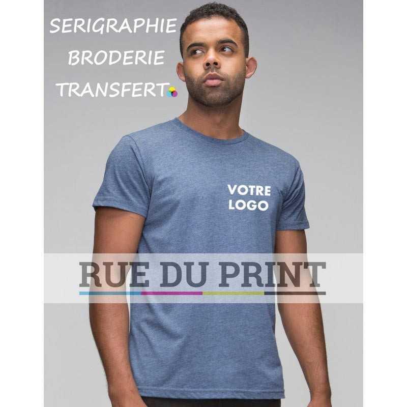 Tee-shirt publicité bleu profil homme Duo 60% coton, 40% polyester, 145 g/m² jersey simple super doux encolure ronde avec bord