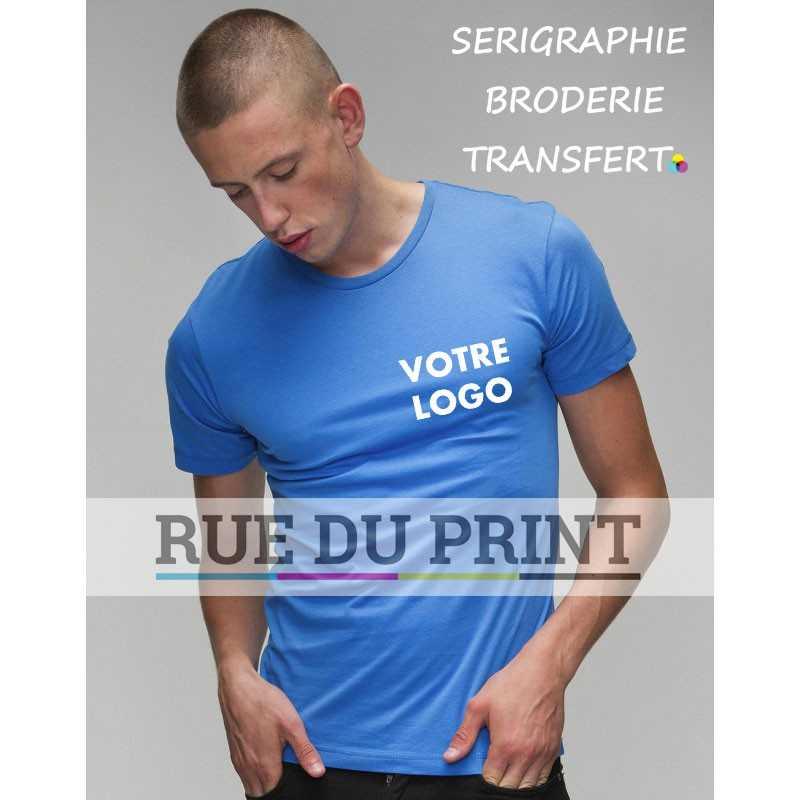 Tee-shirt publicité bleu ciel profil homme ajusté 100% coton peigné rinspun, 150 g/m² jersey simple super doux pour une surface