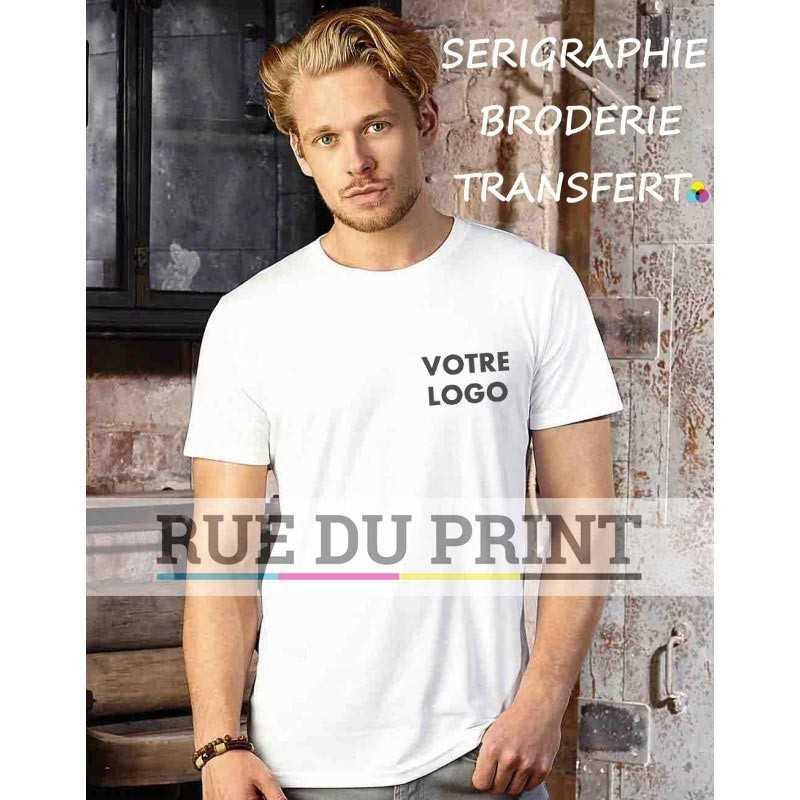 Tee-shirt publicité blanc profil homme HD 160 g/m² (White: 155 g/m²) 65% polyester, 35% coton ringpsun peigné bord côte au cou