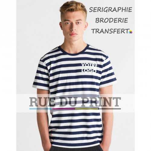 Tee-shirt publicité gris/blanc profil homme rayé 100% coton peigné ringspun, 150 g/m² jersey simple ultra doux pour une surface