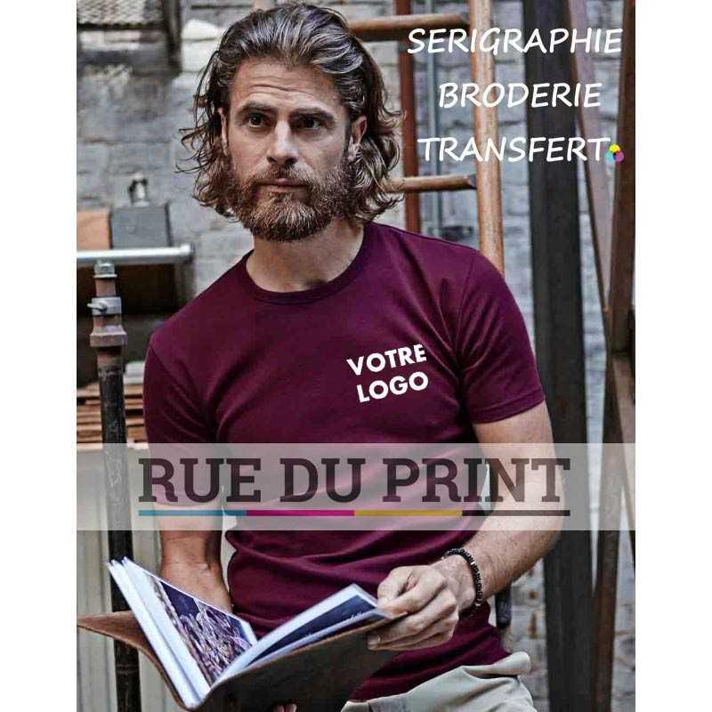 """Tee-shirt publicité grenat profil homme Interlock 100% coton peigné ringspun, 220 g/m² coton à longue fibre fibre compacte """"l"""