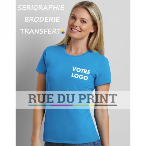 Tee-shirt publicité bleu roi face femme Premium 100% coton, jersey ringspun prérétréci, 185 g/m² Sport grey: 90% coton, 10% pol
