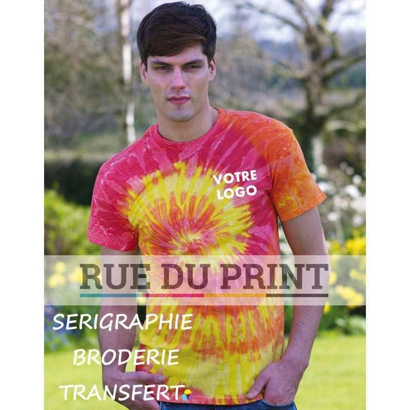 Tee-shirt publicité profil Arc en ciel 100% coton (jersey), 165 g/m² fil open end t-shirt batik bande de propreté